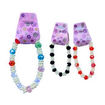 Pulsera ajustable con esferas y perlas, colores surtidos.