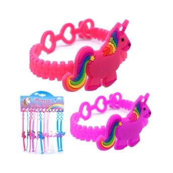 Pulsera para niña de caucho unicornio, modelos y colores surtidos, 19 cm.