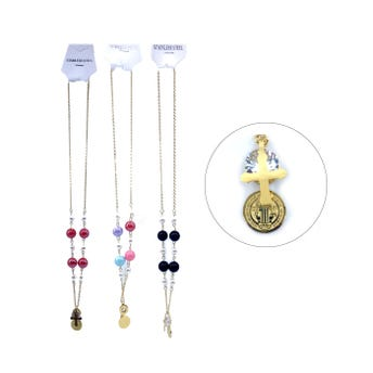 Collar de acero inoxidable religioso con dije, perlas y cristal, colores surtidos.