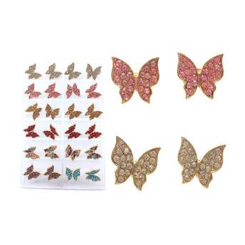 Arete de acero inoxidable mariposa con cristales, colores surtidos.