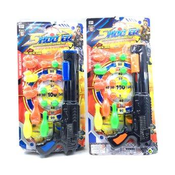 Pistola rifle grande tiro al blanco con 3 patos, bolos y 8 pelotas, colores surtidos, 31 cm aprox