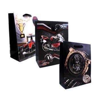 Bolsa de regalo para caballero 3D, modelos surtidos, 24 x 18 x 8.5 cm.