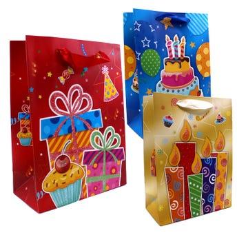 Bolsa de regalo con glitter de cumpleaños, modelos surtidos, 24 x 18 x 8.5 cm.