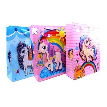 Bolsa de regalo 3D con glitter de unicornios, modelos surtidos, 32 x 26 x 10 cm.