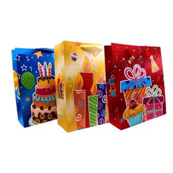 Bolsa de regalo con glitter de cumpleaños, modelos surtidos, 32 x 26 x 10 cm.