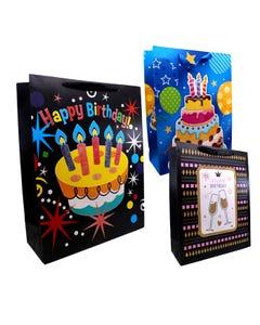 Bolsa para regalo con glitter FELIZ CUMPLEAÑOS, inner por combinación sujeta a disp, 40 x 31 x 12 cm