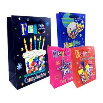 Bolsa para regalo con glitter 3D FELIZ CUMPLEAÑOS, modelos surtidos, 40 x 31 x 12 cm.