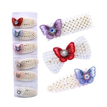 Cuca para cabello de perlas, mariposa textil con cristales, inner por mod sujeto a disp, 7.5 x 3 cm