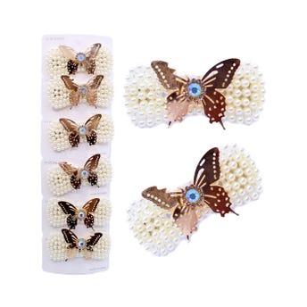 Cuca para cabello de perlas, mariposa metálica con cristales, 7.5 x 3.5 cm aprox