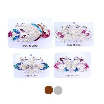 Broche para cab, francés metálico de fig con cristales y perlas, inner por mod sujeto a disp, 9 cm.