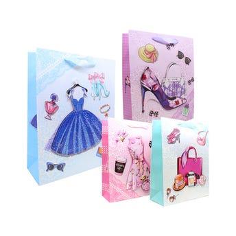 Bolsa para regalo 3D con glitter para dama, modelos surtidos, 32 x 26 x 10 cm.