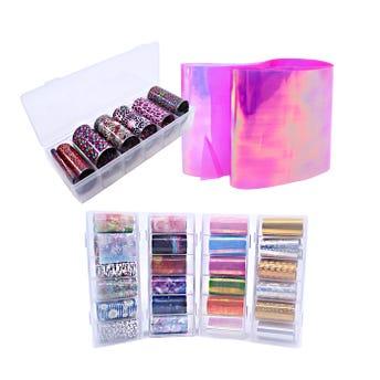 Decoración para uñas foil en tira en set con 6 pz, modelos surtidos, 4 x 49 cm aprox