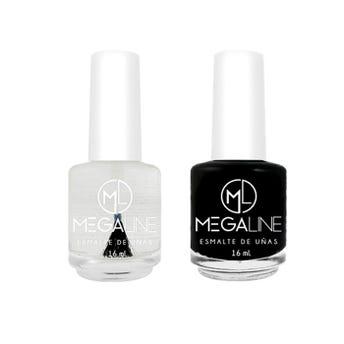 Esmalte para uñas MEGALINE, negro y transparente, 16 ml.