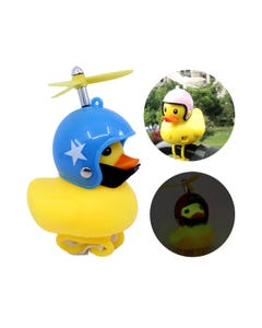Pato con casco, luz y pivote chillón para bicicleta, mod surtidos, 9 X 7 cm.