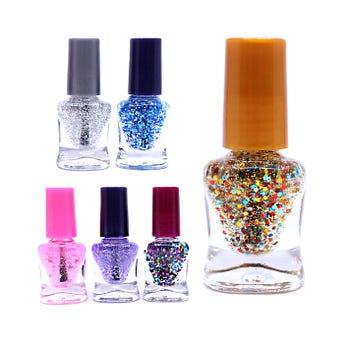 Esmalte para uñas con glitter, colores surtidos, 5 ml.