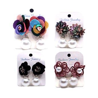 Arete flor textil con perla colgante, inner por mod sujeto a disp, col surt.