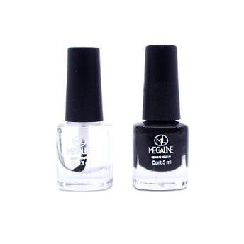 Esmalte para uñas MEGALINE, negro y transparente, 5 ml.