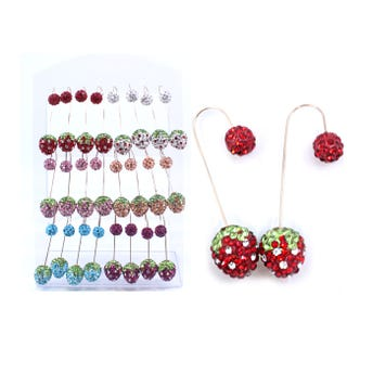 Arete largo con figura de fresa con cristales, colores surtidos, 5 cm aprox.