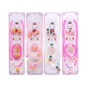 Collar de perlas para niña con aretes, anillo y pulsera ajustable, inner por modelo sujeto a disp.
