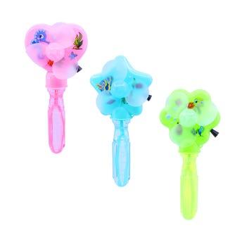 Burbuja con ventilador de cuerda, figuras y colores surtidos, 17 cm.