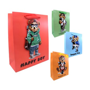 Bolsa para regalo 3D, osos para caballero con glitter, mod surt, 32 X 26 X 10 cm.