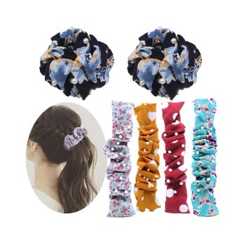 Dona chonguera flexible textil con perlas, inner por modd sujeto a disp, 22 cm.