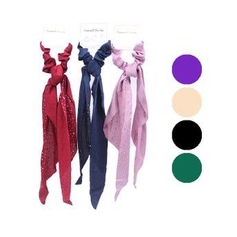 Dona para cabello satinada con listón con brillantes, colores surtidos, 7 X 32 cm aprox.