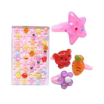 Anilllo infantil animales, flores y frutas transparentes, modelos surtidos.