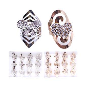 Anillo metálico garigoleado con cristales, mod  y tallas surt, inner por color sujeto a disp.
