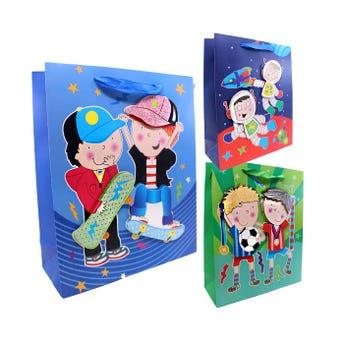 Bolsa para regalo 3D, para niño deportista con glitter, mod surt, 32 X 26 X 10 cm.