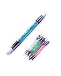 Pincel de silicón dúo para uñas, set con 5 pz, colores surtidos, 13 cm aprox.