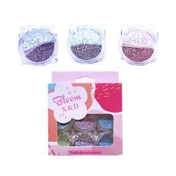 Decoración para uñas en glitter, set de 6 pz, colores pastel surtidos.