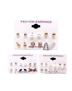 Arete de cristal, perlas y figuras en set con 6 pares, modelos surtidos.