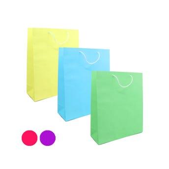 Bolsa para regalo lisa, colores surtidos, grande, 26 x 20.5 x 7.5 cm.