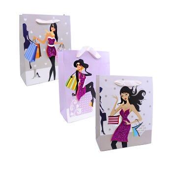 Bolsa para regalo 3D, para dama, modelos surtidos, 23 X 18 X  9 cm.