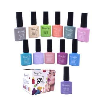 Esmalte para uñas gelish, para sellar con luz UV LED, BLING GINI, combinación C, 10 ml.