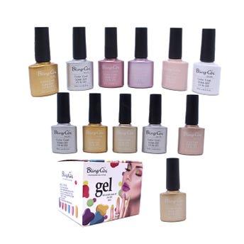 Esmalte para uñas gelish, para sellar con luz UV LED, BLING GINI, combinación E, 10 ml.