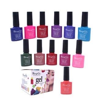Esmalte para uñas gelish, para sellar con luz UV LED, BLING GINI, combinación F, 10 ml.