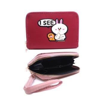 Monedero cartera para dama, conejo bordado, colores surtidos, 13 X 9 cm.