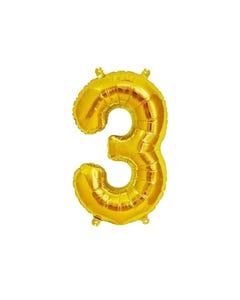 Globo metálico de número 3, dorado, 84 X 45 cm aprox, 32 pulg.