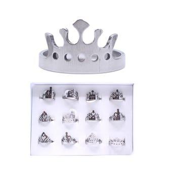 Anillo de acero inoxidable corona lisa, mod y tallas surtidas, plateado.