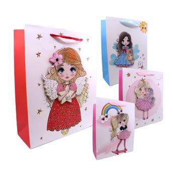 Bolsa para regalo 3D con glitter para niña, modelos surtidos, 32 x 26 x 10 cm.