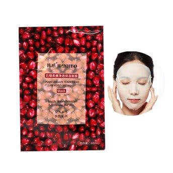 Mascarila facial textil de granada, HANHUO, tonifica, nutre y da elasticidad la piel, 30 ml.