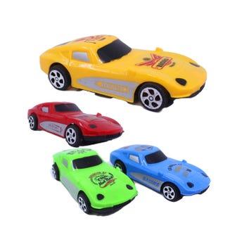 Carro de  fricción decorado, colores surtidos, 14 X 5.5 cm.