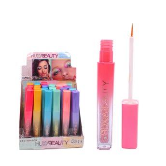Delineador líquido con glitter punta pincel, HUXIA BEAUTY, colores surtidos, 13 cm.