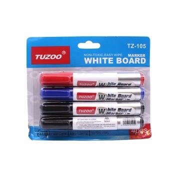 Marcador para pizarrón blanco, TUZOO, 3 colores surtidos.