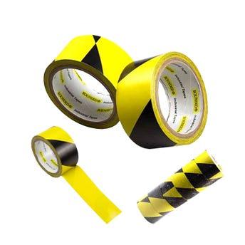 Cinta diurex para marcaje de áreaa delimitada amarillo con negro 4.8 cm X 18.3 mt.