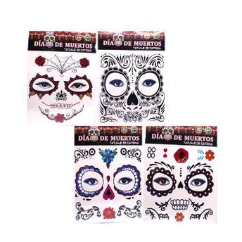Tatuaje facial, HALLOWEEN, modelos surtidos, 17 X 16 cm.