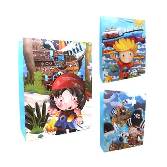Bolsa para regalo 3D con glitter piratas para niño, modelos surtidos, 40 x 31 x 12 cm.
