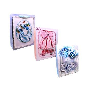 Bolsa para regalo 3D con glitter para bebe, modelos surtidos, 32 X 26 X 10 cm.